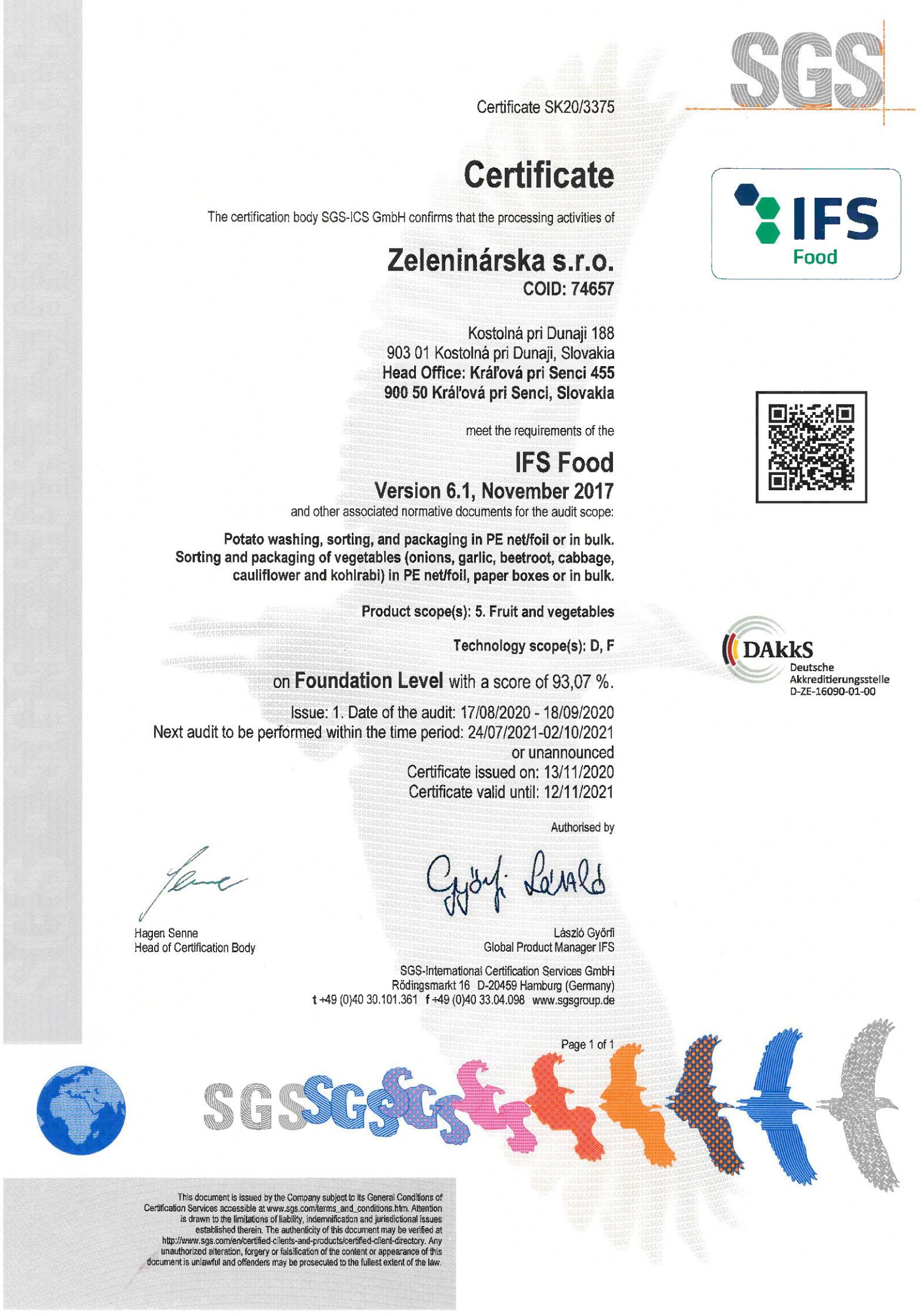 certifikat-IFS-Food-Zeleninarska